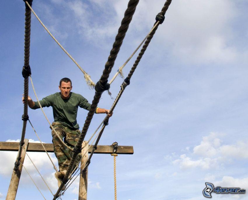 centro di arrampicata, uomo, camouflage, Corde
