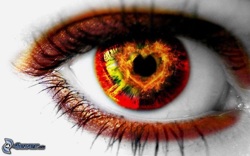 cuore nell'occhio, occhio con il fuoco