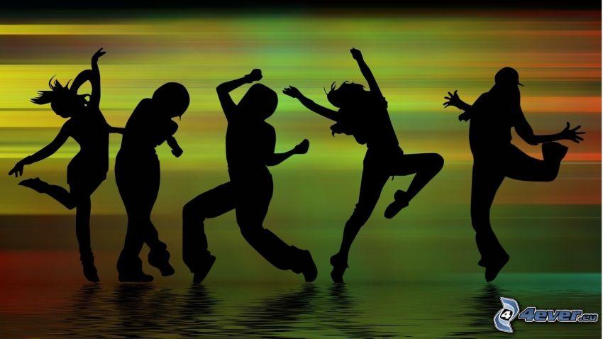 danza, sagome di persone