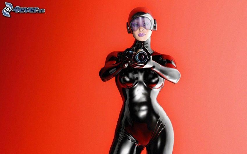 donna, fotocamera, latex