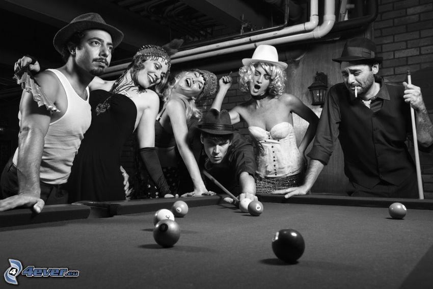 gente, biliardo, foto in bianco e nero