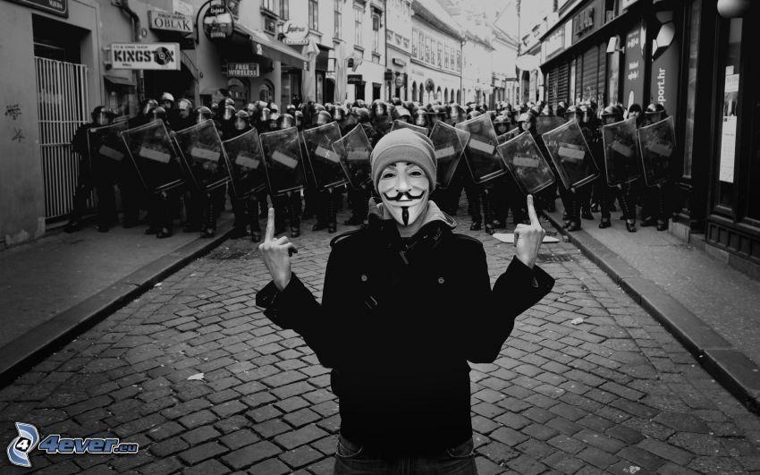 maschera, uomo, gesto, poliziotti