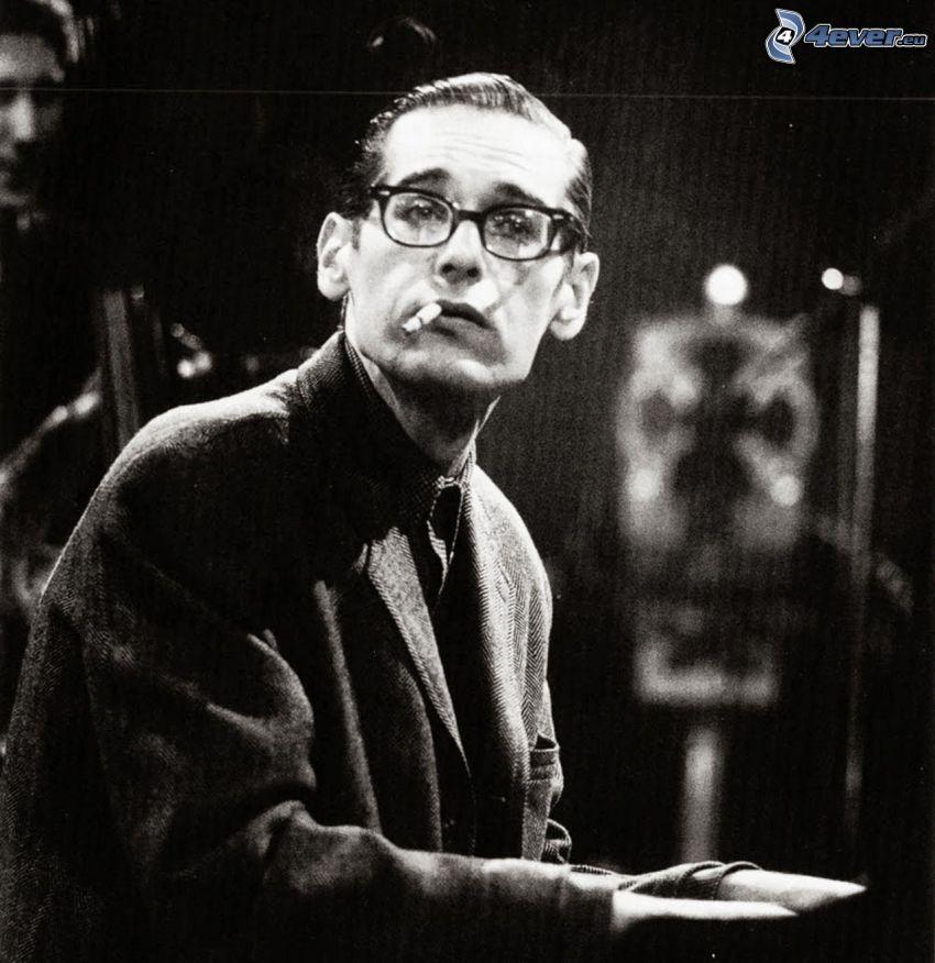 Bill Evans, pianista, suonare il pianoforte, foto in bianco e nero
