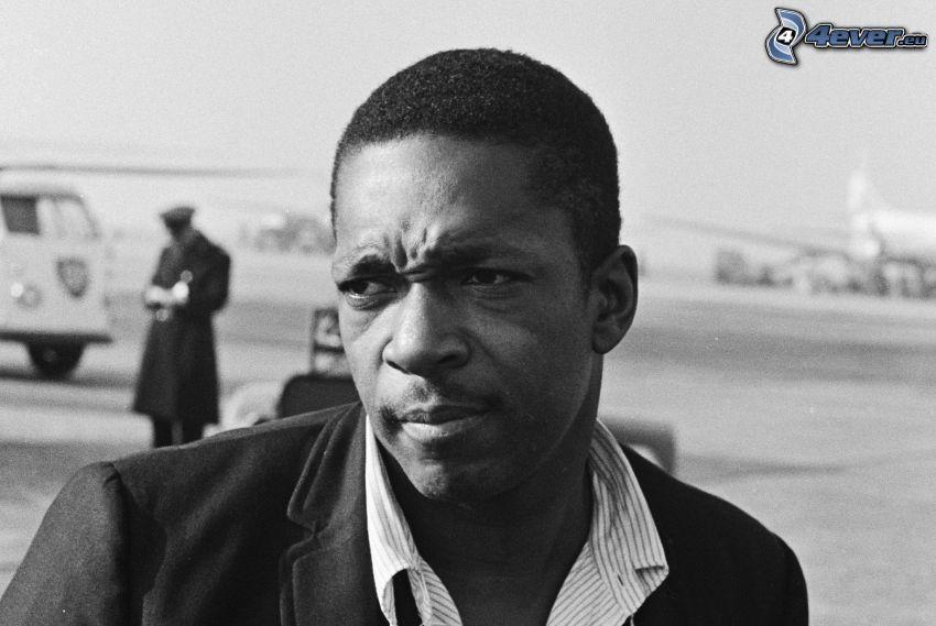John Coltrane, sassofonista, foto in bianco e nero