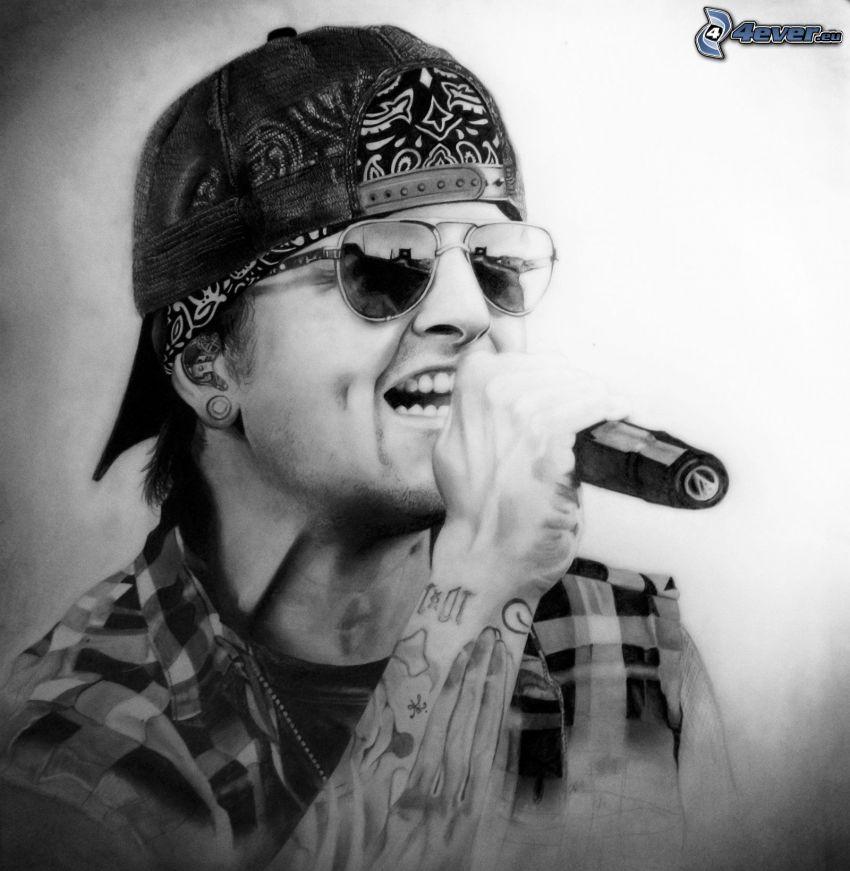 M. Shadows, ragazzo tatuato, canto, occhiali da sole, berretto