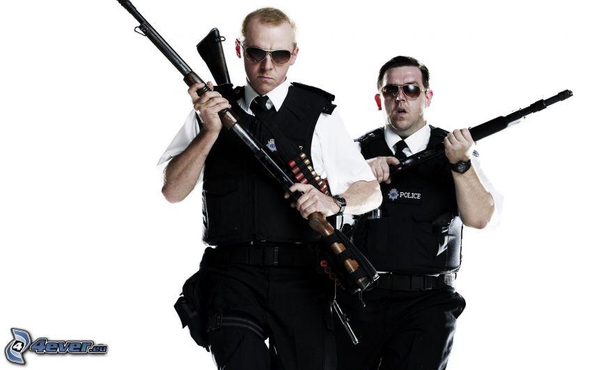 poliziotti, occhiali da sole, armi