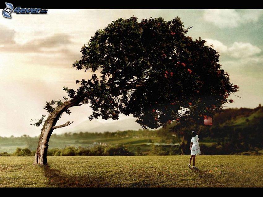 ragazza, albero, palloncino