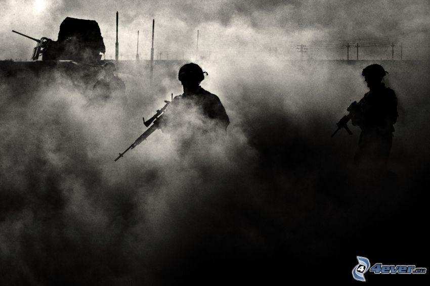 soldati, sagome di persone, polvere