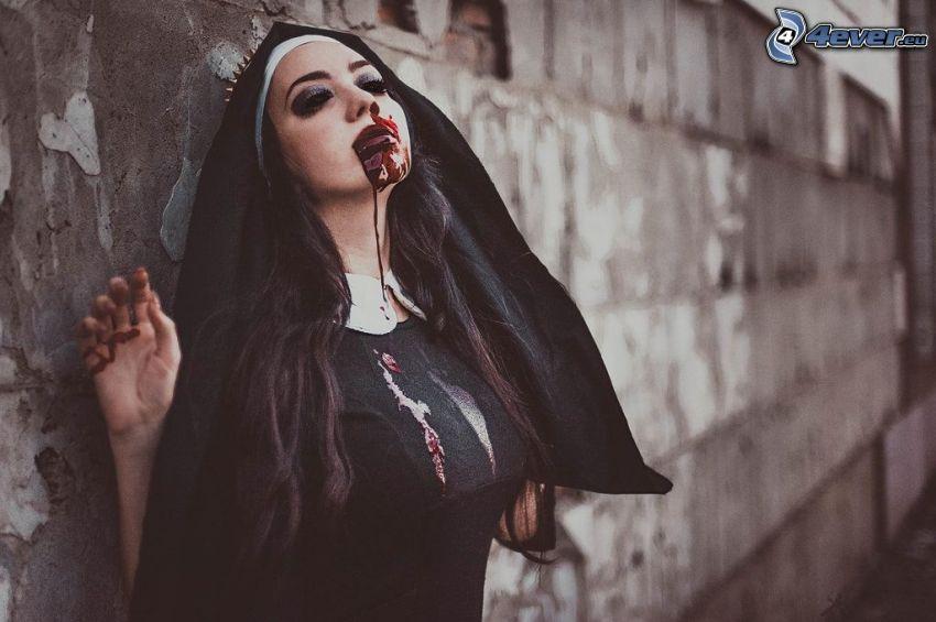 suora, sangue, muro