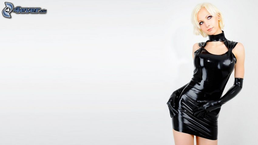 Susan Wayland, abito nero, latex
