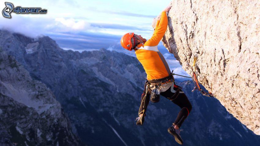 alpinista, roccia, montagne rocciose