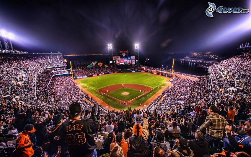 stadio di baseball, gente, tribuna, stadio, baseball