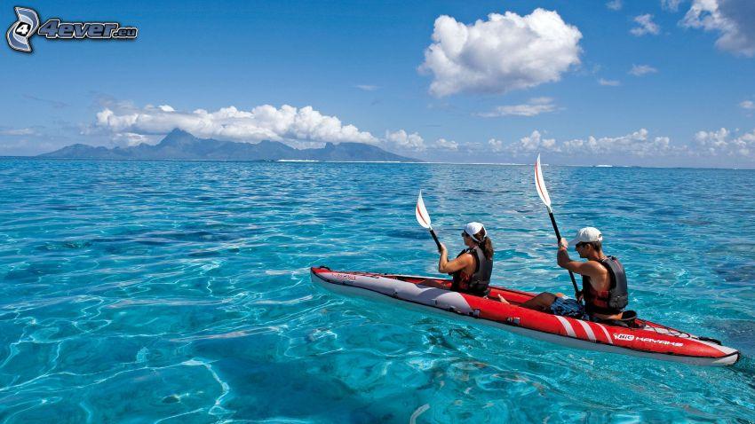 canoa, mare, isola