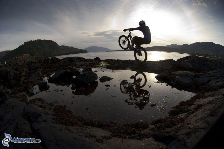 bicicletta, lago, tramonto