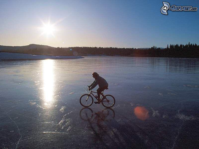 ciclista, ghiaccio, bicicletta, inverno