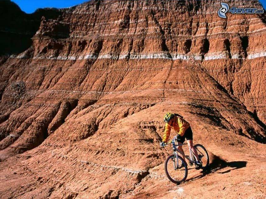 mountain biker, montagne, terreno