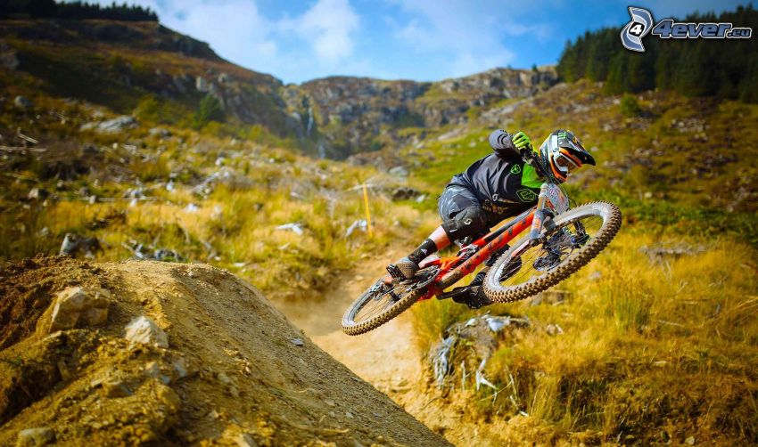 mountainbiking, salto, verde