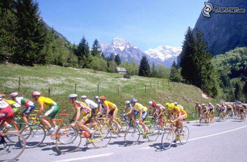 Tour De France, ciclisti, bicicletta, montagne