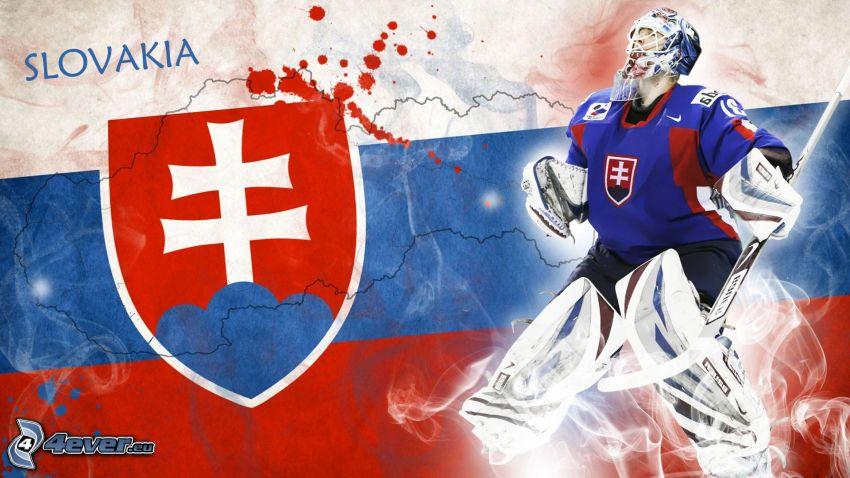 bandiera della Slovacchia, giocatore di hockey, stemma della Slovacchia