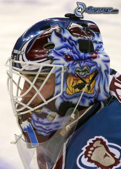 giocatore di hockey, casco sport
