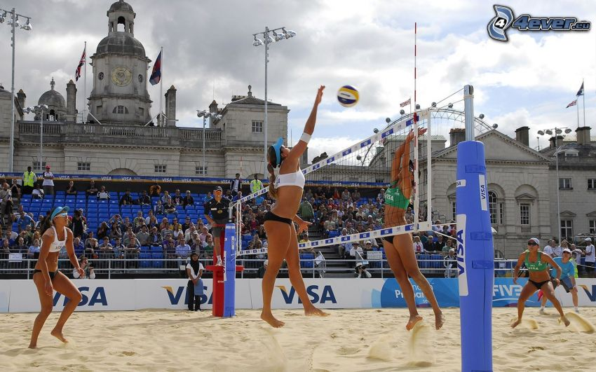 pallavolo, giocatrice di pallavolo, rete, sabbia, spettatori, edificio