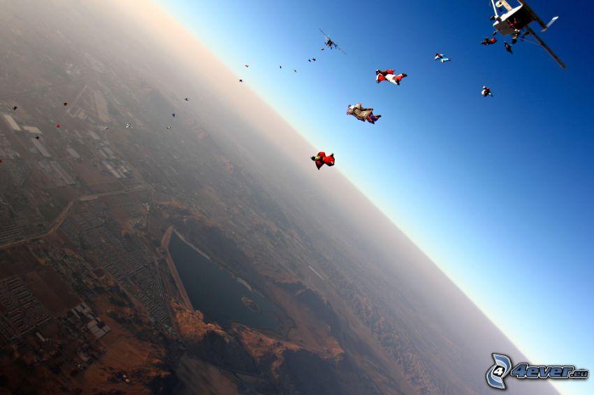 paracadutisti, la vista del paesaggio