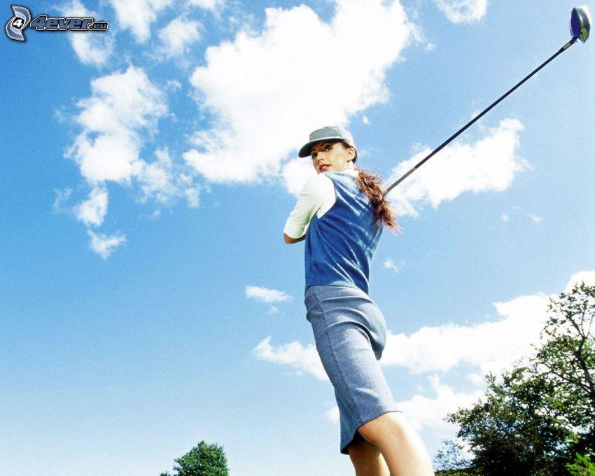 ragazza golfista, nuvole