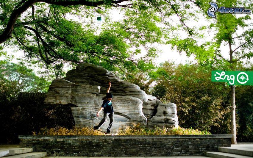 skateboard, roccia, parco