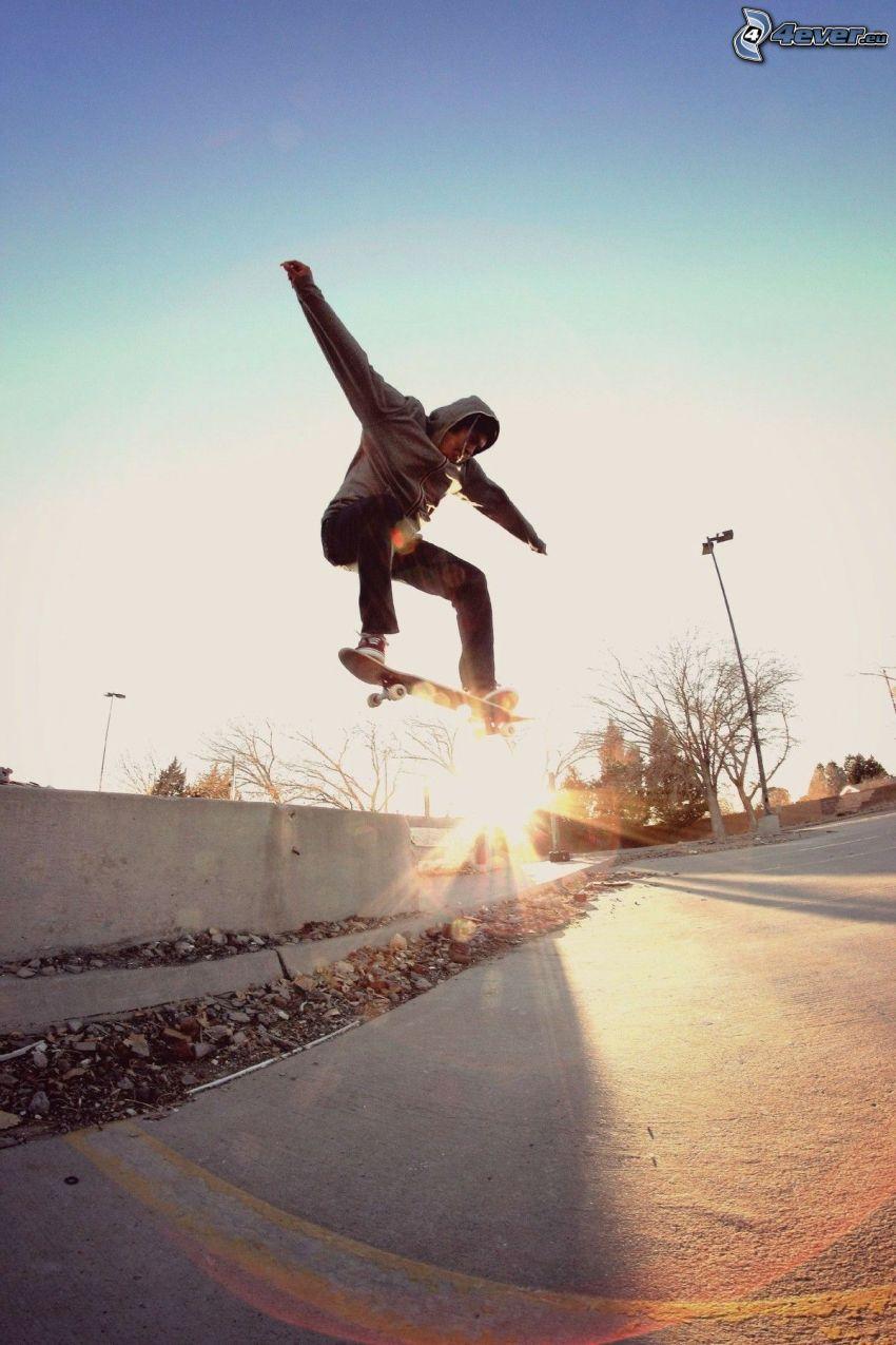 skateboard, salto, tramonto