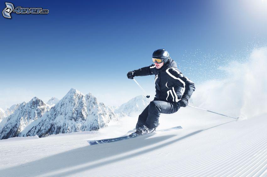 sci, sciatore, neve