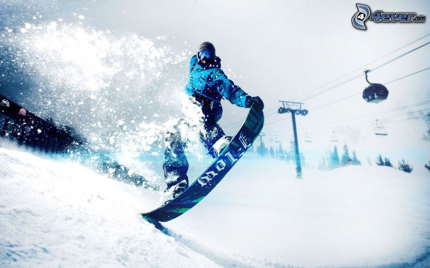 snowboarding, funicolare, neve