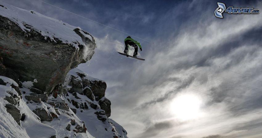 snowboarding, salto, rocce, neve