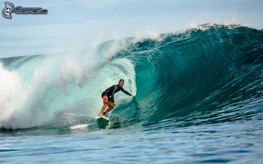 surfing, uomo, onda