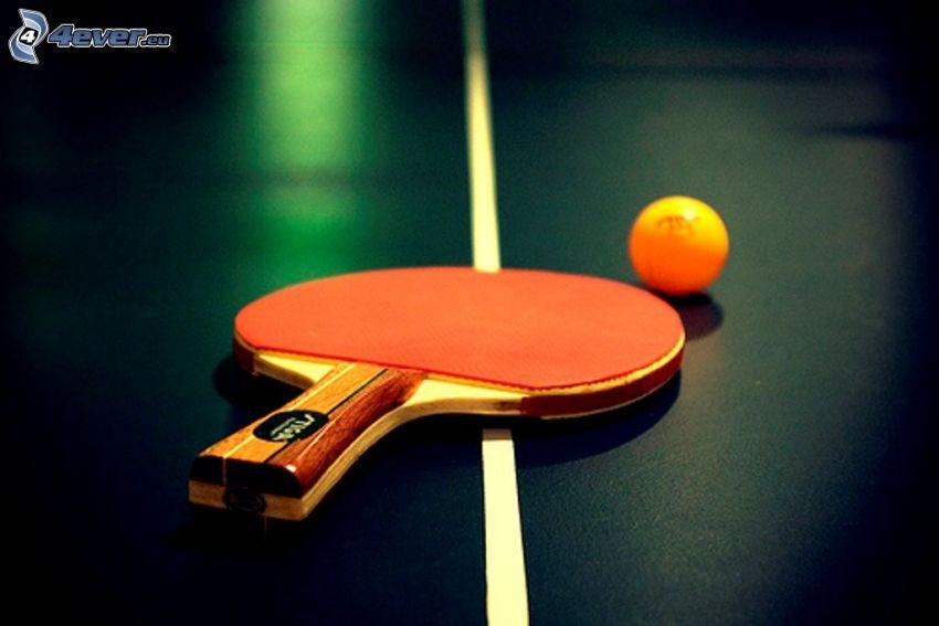 tennistavolo, racchetta, palla