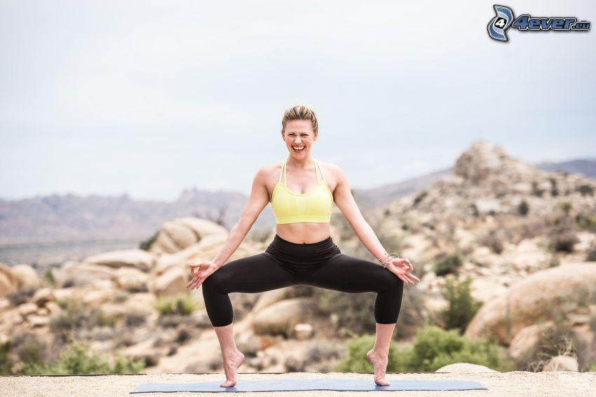 yoga, riscaldamento, esercizio, sorriso, gioia