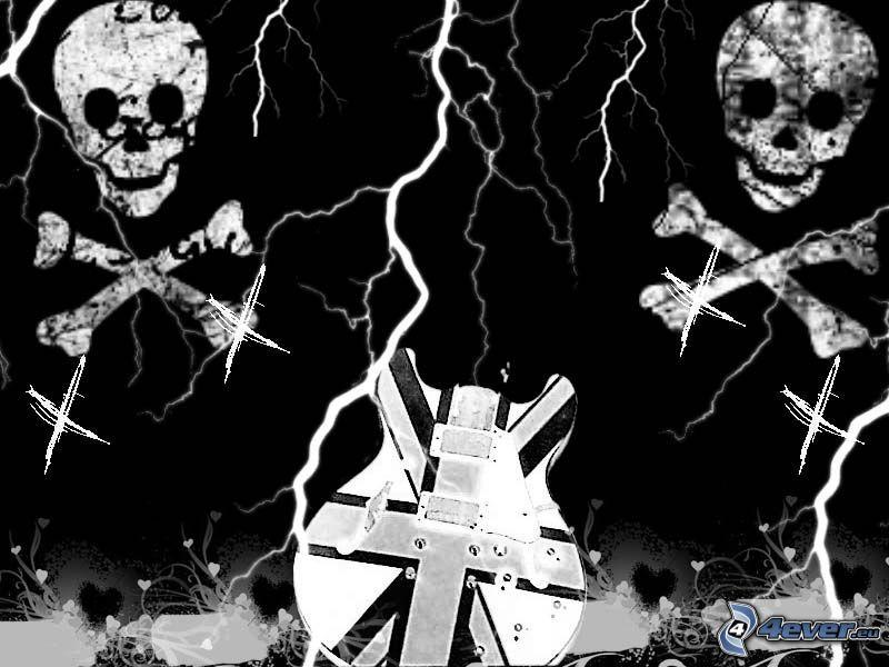 cranio, chitarra, morte, nera, oscurità, depressione