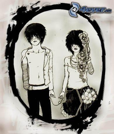 emo coppia, amore, specchio
