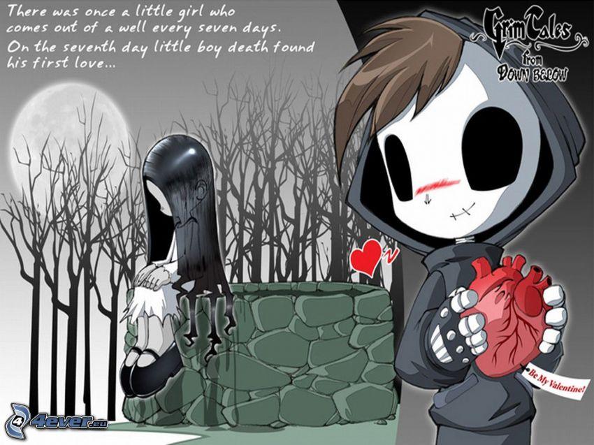emo coppia, cuore, la morte, scheletro, amore
