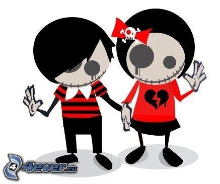emo coppia, scheletro, amore, fiocco