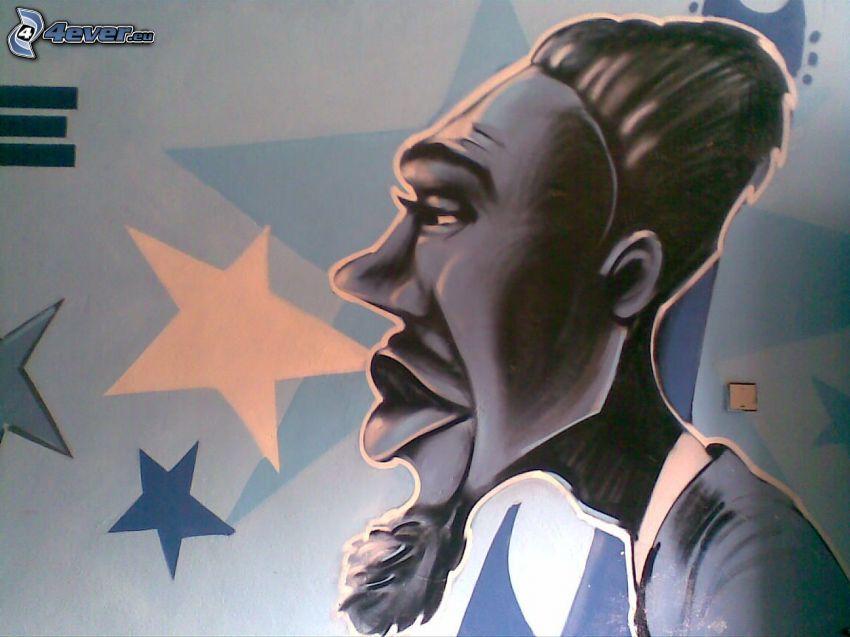 caricatura, graffitismo, barba, stella, labbra