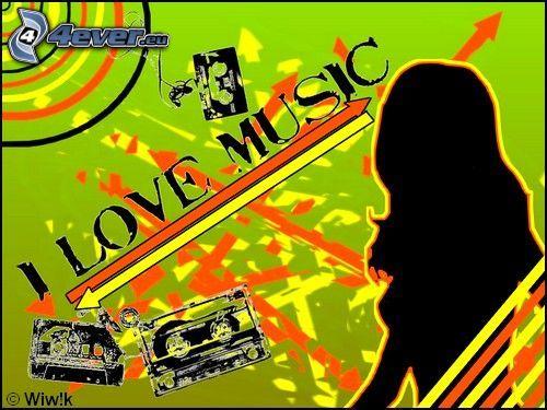 I Love Music, amore, musica, silluetta di donna, collage, cassetta