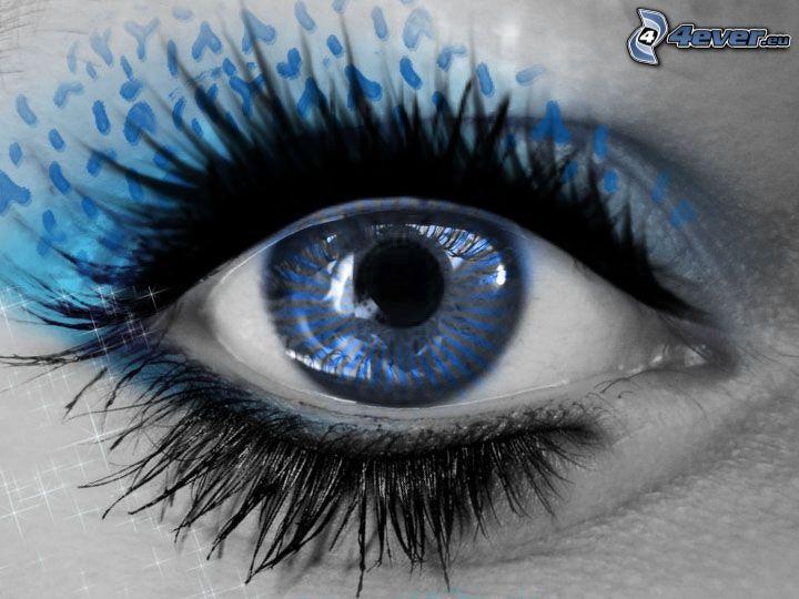 occhio, blu, nera, ciglia