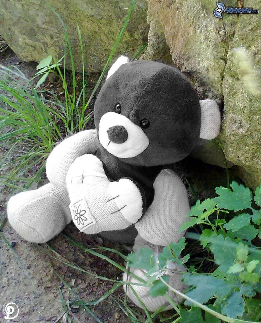 orsacchiotto con cuore, peluche teddy bear, roccia