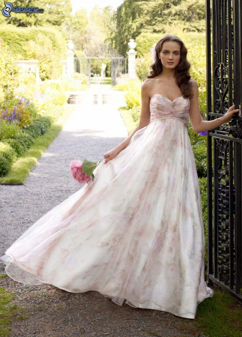 abito da sposa, sposa, bouquet di nozze, parco