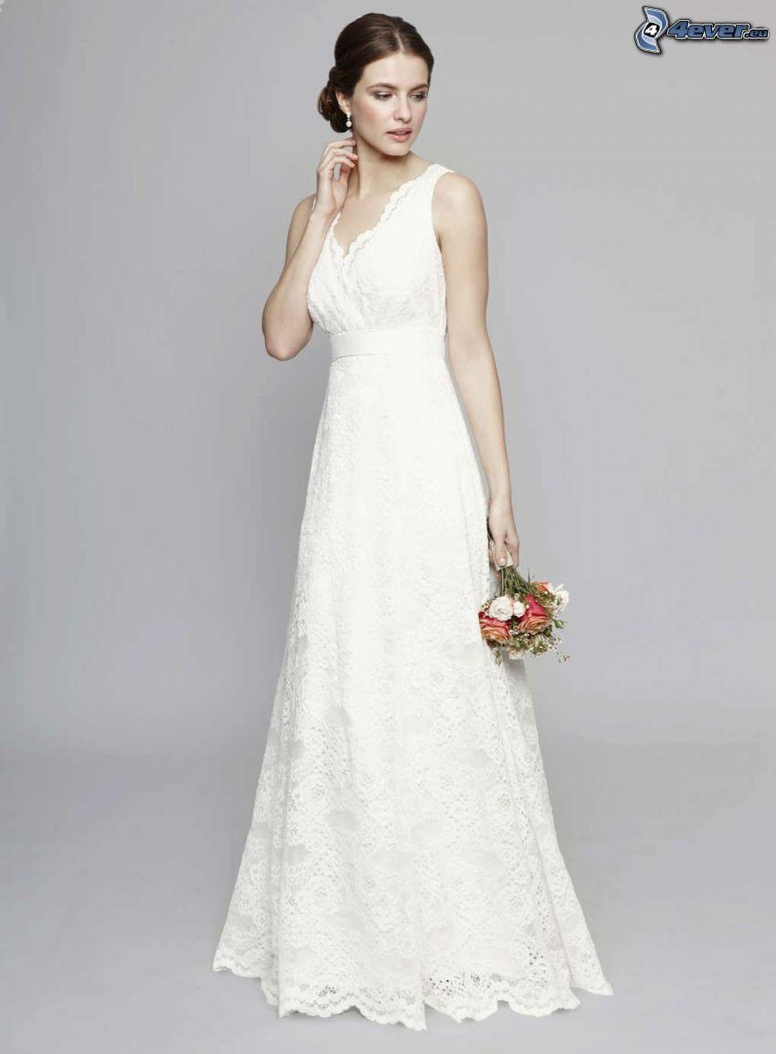 abito da sposa, sposa, bouquet di nozze