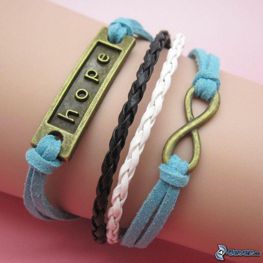 braccialetti, speranza, mano