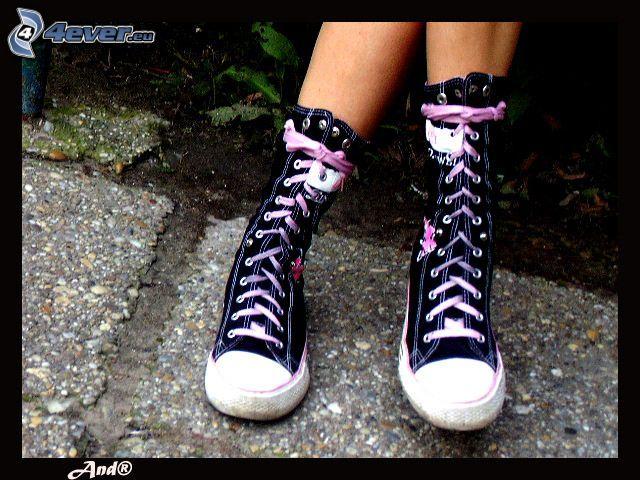 gambe, scarpa, coverse scarpe, scarpe