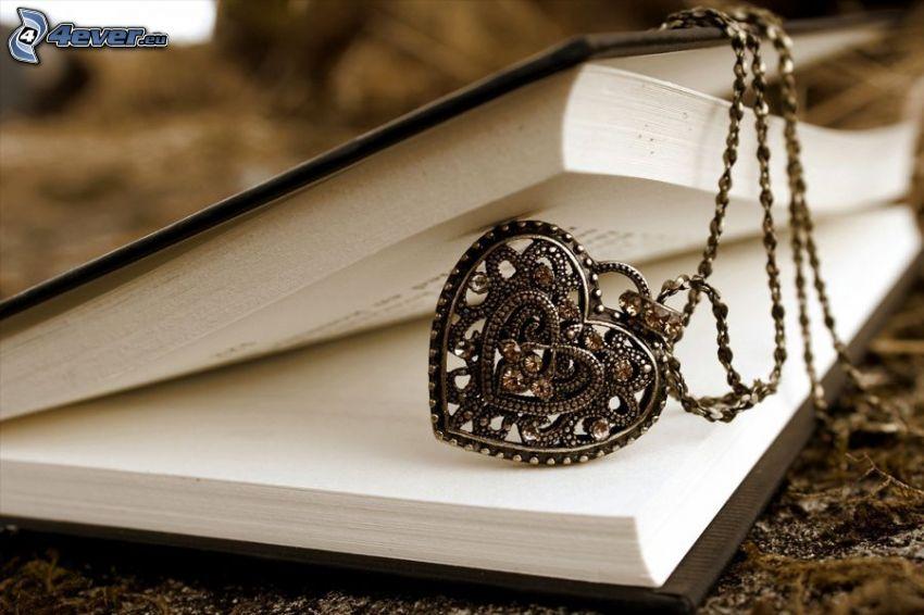 pendente, cuore, collana, libro