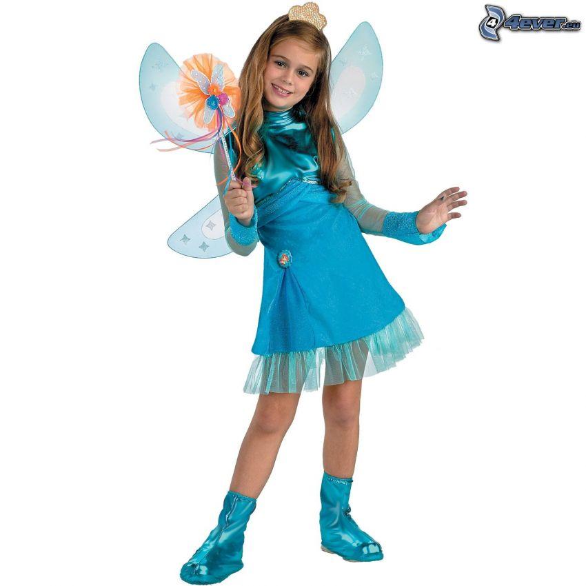 ragazza, fata, angelo, costume