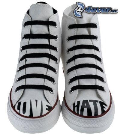 scarpe da ginnastica, love, hate, coverse scarpe